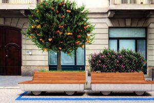 Otro ejemplo de objeto urbano inteligente: banco móvil con vegetación que incluye WiFi, conectores USB e iluminación para la noche con sensores de luminosidad y presencia. Fuente: http://inhabitat.com