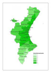 Mapa de idoneidad de la paulownia en la Comunidad Valenciana (1: menor idoneidad; 5: mayor idoneidad)