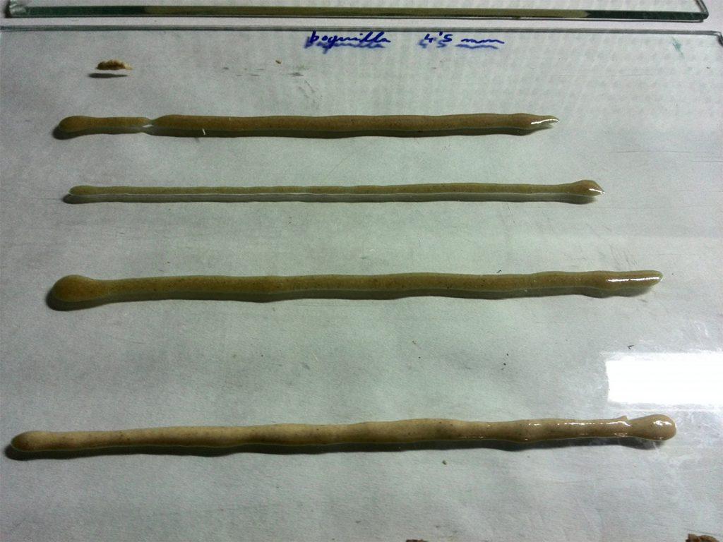 Pruebas de aplicación mediante inyección de material con carga de madera.