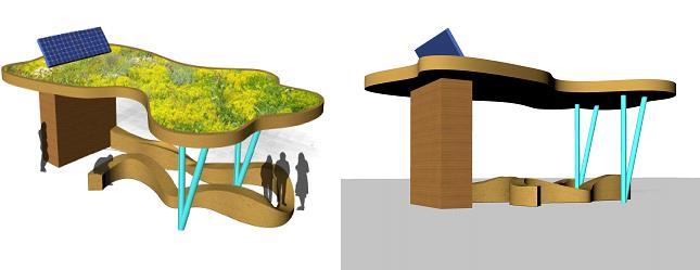 Bocetos de otro de los diseños presentados en el taller: pabellón multimedia