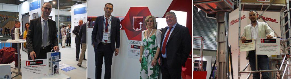 Los responsables de las empresas galardonadas con los premios en su estand de Ferroforma 2017 con el reconocimiento por el producto premiado. De izda., a dcha., TESA, UGARTE, y FARAONE.