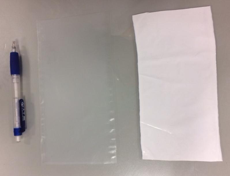 Fotografías de la membrana tipo CA143 sin lavar (izquierda) y lavada (derecha)