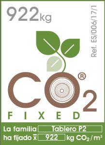 Etiqueta CO2 FIXED para la familia de tableros P2 de Tableros Losán.