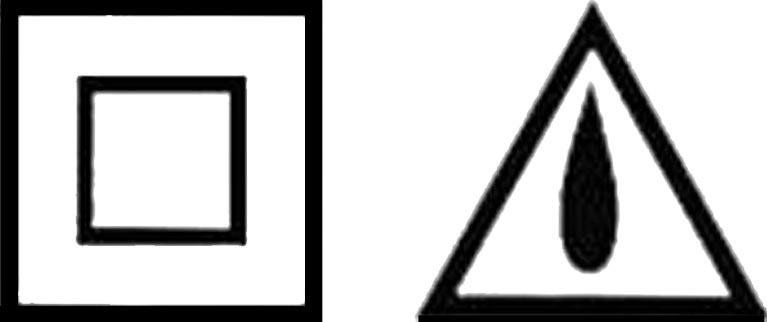 A la izda., el símbolo de protección del cableado con doble aislamiento y a la dcha., el icono que indica la protección contra la lluvia.