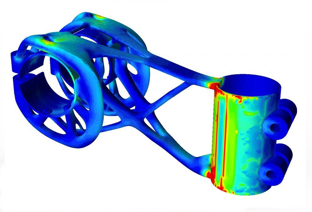 Pieza de unión optimizada para fabricación aditiva (FA).