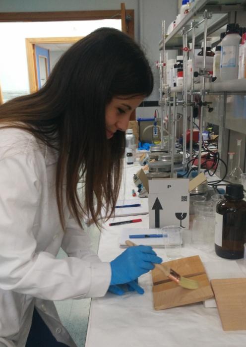 Detalle de aplicación en pincel sobre fresno de algunas de las formulaciones desarrolladas en el proyecto.
