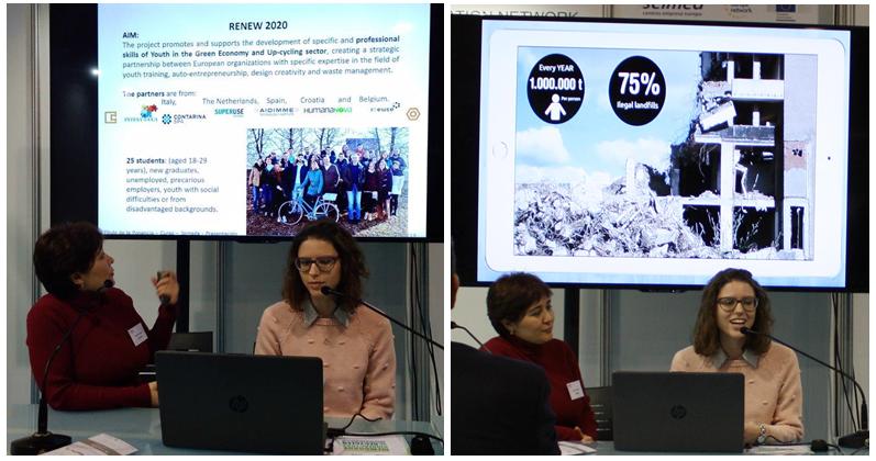 Patricia Boquera presenta las acciones del proyecto RENEW2020 y María Martinez presenta MapMap, la plataforma para reutilización de materiales de la construcción.