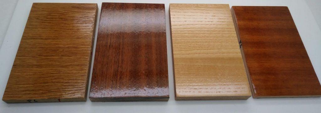 Muestras de diferentes especies de madera con recubrimiento solgel.