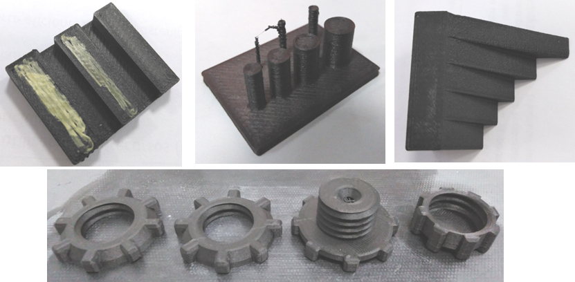 Artefactos que contribuyen a determinar los procedimientos de diseño para fabricar piezas poliméricas mediante tecnologías de fabricación aditiva. Muestras fabricadas en la tecnología FCC del fabricante Markforged.