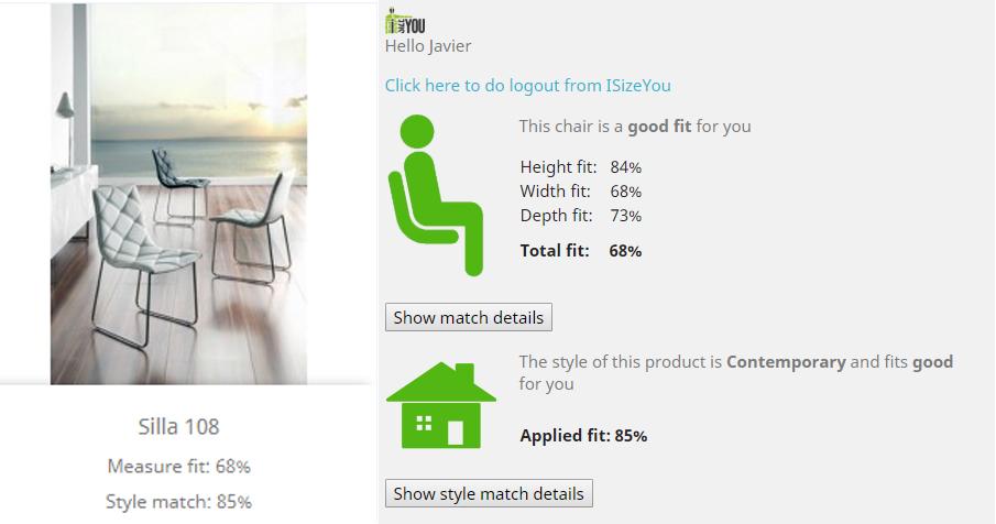 Figura 3 – Ejemplo de selección de Silla (de CM) y fit basado en perfil de usuario