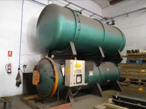 Autoclave de presión y vacío para tratar la madera de paulownia con producto inorgánico (sales de cobre)