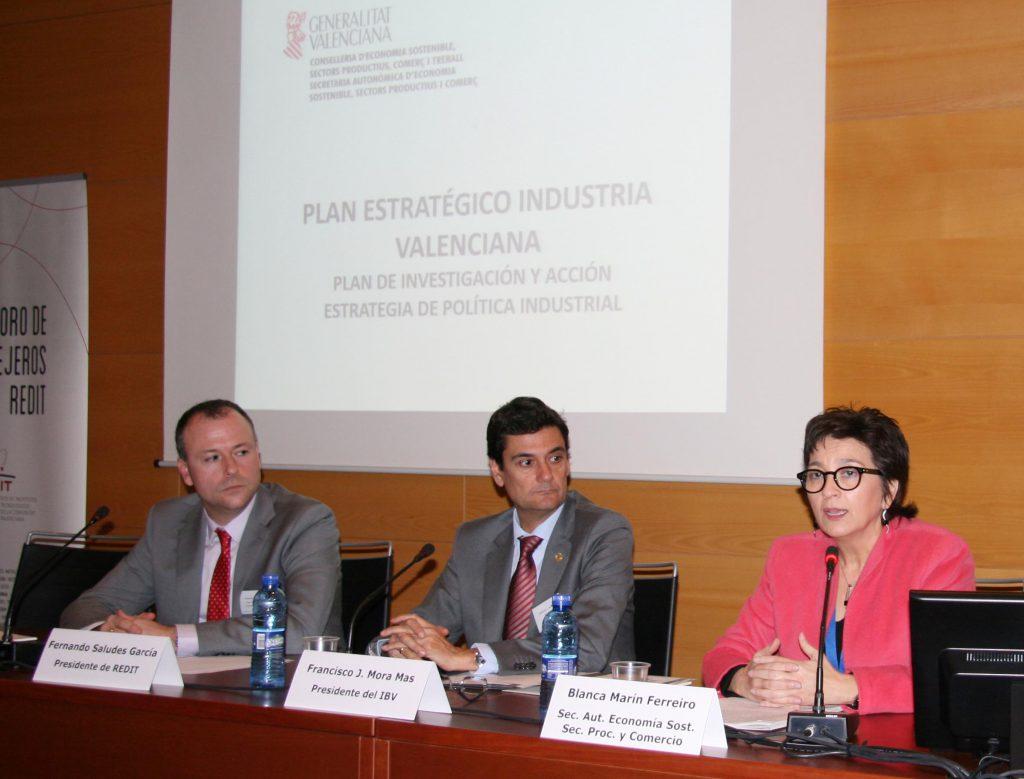 La Secretaria Autonómica de Economía, Sectores Productivos y Comercio, Blanca Marín, durante su intervención en el V Foro de Consejeros de REDIT.