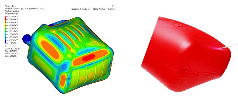 Comparación entre las zonas de tensión modelizadas y el ensayo real de presión interna. La localización de la rotura se corresponde a la zona de mayor tensión calculada (rojo oscuro).