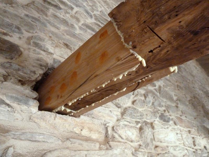 Fotografía 5. Injerto de madera nueva para reforzar la cabeza de una viga de castaño. Fuente: AEstudio Arquitectura y Urbanismo