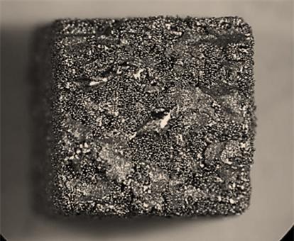 Muestra y microestructura del material g-TiAl fabricado en tecnología EBM